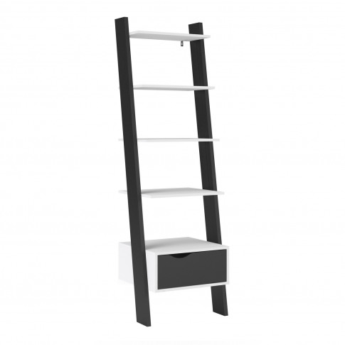 Black & White Matte Leaning Bookcase With 1 Draw - Oslo