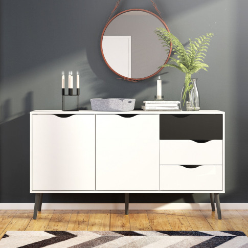 Oslo Large Sideboard 3 Drawers 2 Doors In White And ...