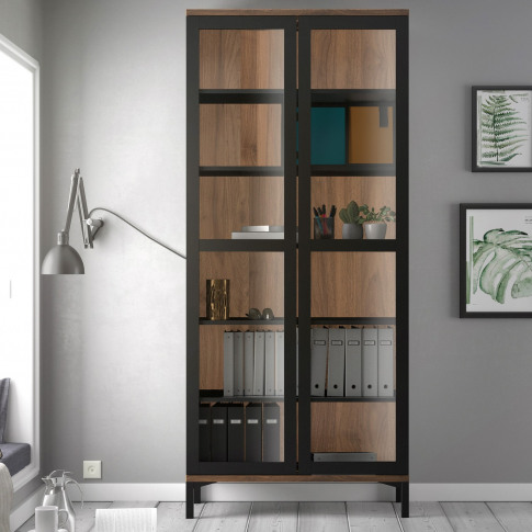 Roomers Display Cabinet Glazed 2 Doors In Black And ...