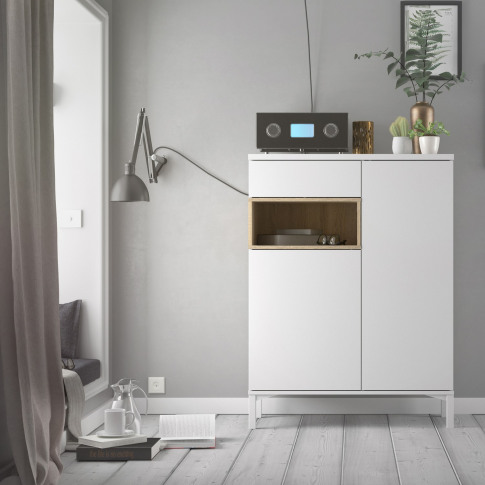 Roomers Sideboard 2 Drawers 1 Door In White And Oak