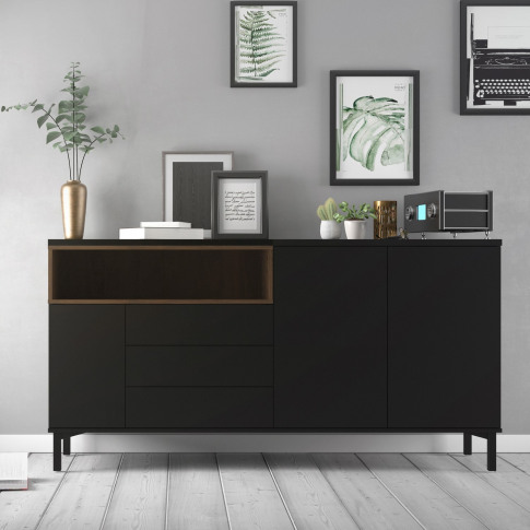 Roomers Sideboard 3 Drawers 3 Doors In Black And Walnut