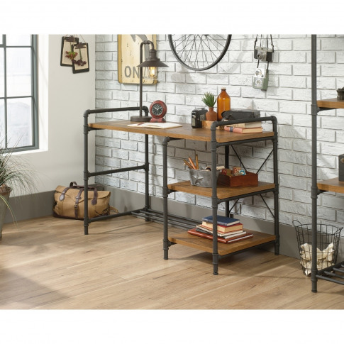 Teknik Office Iron Foundry Desk With Checked Oak Eff...