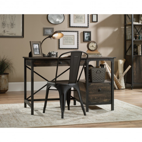 Teknik Office Steel Gorge  Desk With Carbon Oak Effe...