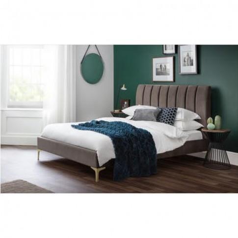 Julian Bowen Scalloped Velvet Double Bed Frame In Grey