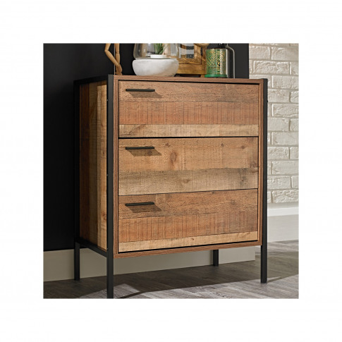 Lpd 3 Drawer Chest Of Drawers In Distressed Oak Effe...