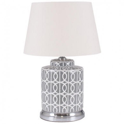 Grey & White Table Lamo With Cream Light Shade