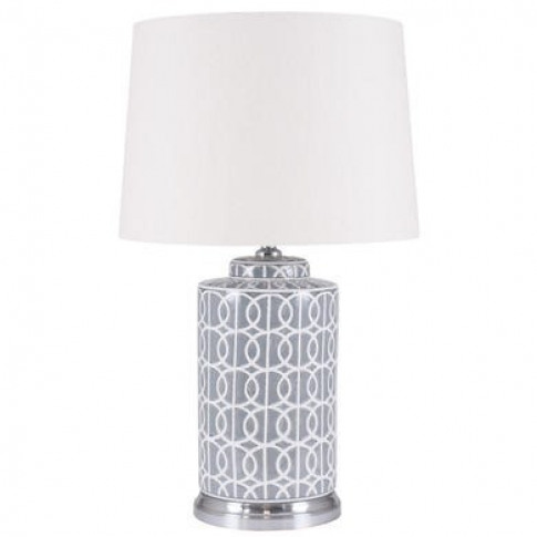 Grey & White Table Lamp With Cream Light Shade - Tall