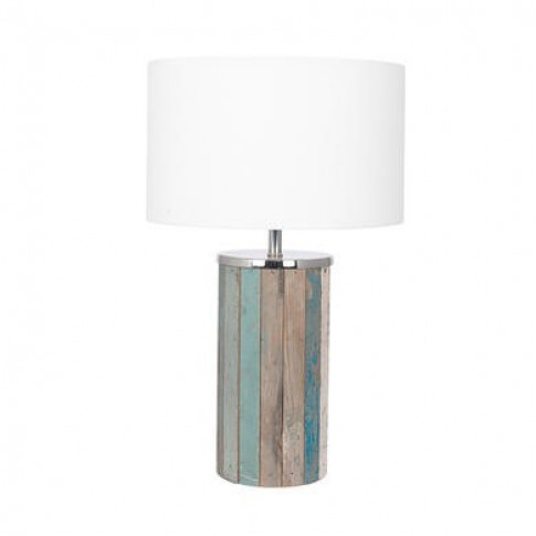 Rustic Wooden Table Lamp With White Light Shade - Tall