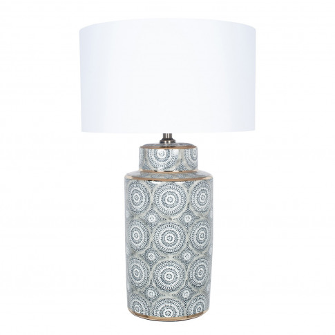 Grey & White Patterened Table Lamp With Ivory Light ...