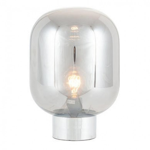Smoked Glass Bulb Table Lamp With Chrome Base