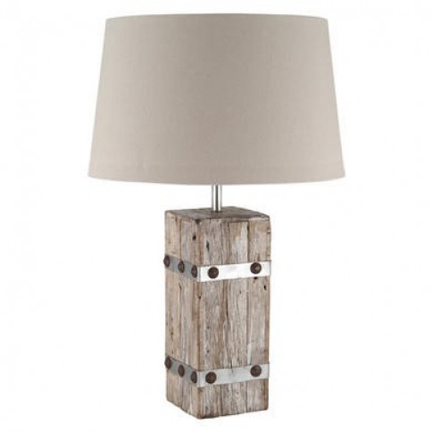 Scandi Wood Table Lamp With Cotton Light Shade