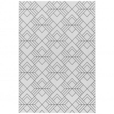 Patio Indoor/Outdoor Black & White Geometric Rug 200...