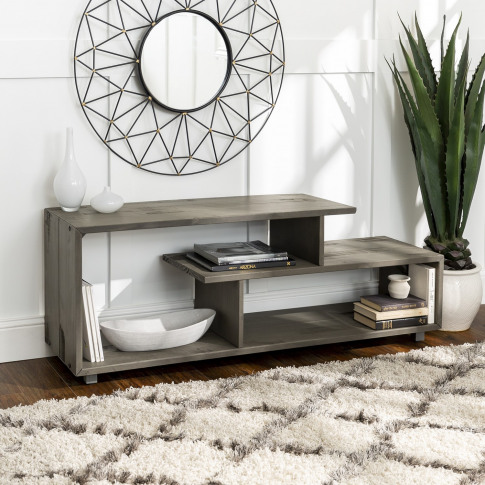Grey Wash Tv Stand With Open Shelves - Foster