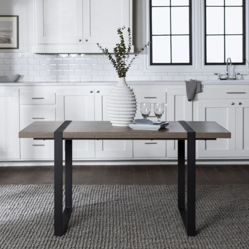 Foster Rectangular Dining Table In Wood & Metal