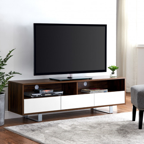 Dark Wood Tv Unit With White Drawers - Tvs Up To 66 - Foster