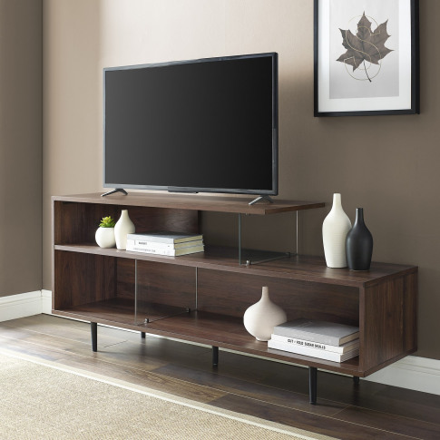 Walnut Effect Open Tv Stand With Glass Panels - Tvs ...