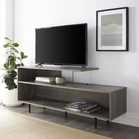 Grey Wash Tv Stand With Open Shelves & Glass Panels ...