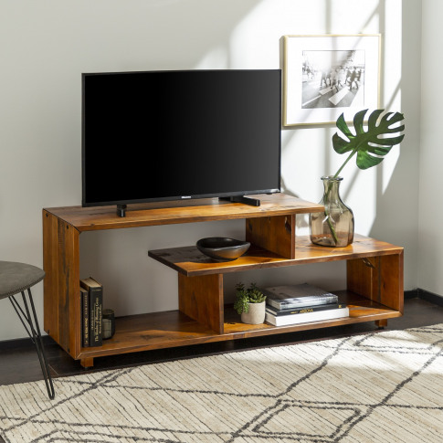 Foster Tv Unit In Wood & Open Shelves