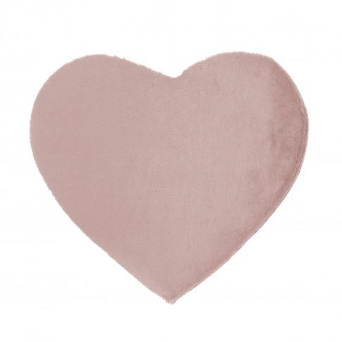Ripley Blush Pink Faux Fur Heart Rug 80x100cm