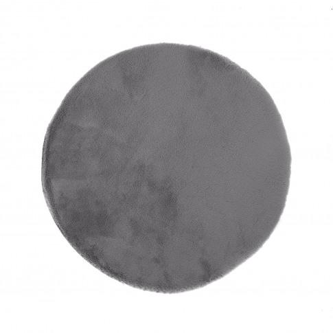 Ripley Grey Faux Fur Circle Rug 100x100cm