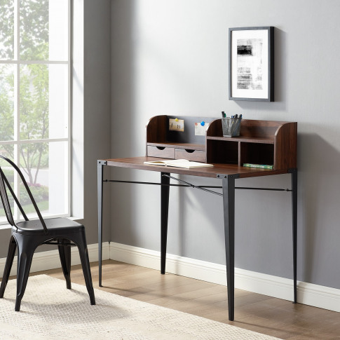 Walnut & Metal Industrial Office Desk - 42