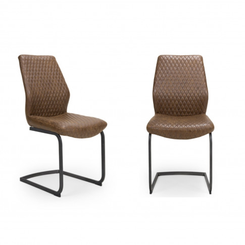 Brown Faux Leather Dining Chairs - Set Of 2 - Charlie
