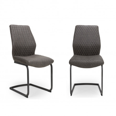 Grey Faux Leather Dining Chairs - Set Of 2 - Charlie