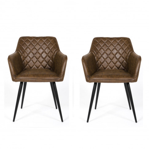Brown Faux Leather Carver Dining Chairs - Set Of 2 -...