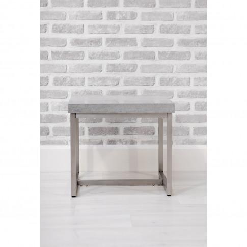 Grey Side Table In Concrete Effect & Metal - Etan