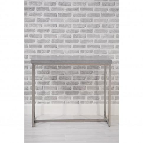 Grey Console Table In Concrete Effect & Metal - Etan