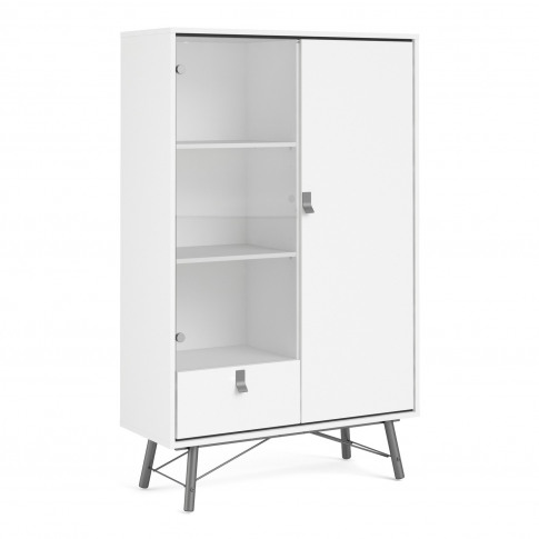 White Display Cabinet With Glass Door