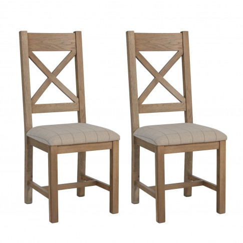 Pair Of Dining Chairs With Cream Seat & Cross Back I...