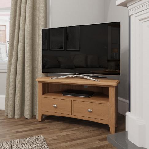 Bourton Solid Oak Corner Tv Unit With Open Shelf