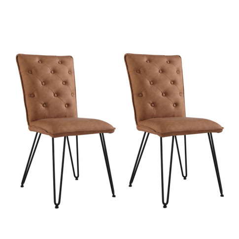 Tan Leather Dining Chairs With Hairpin Legs - Set Of 2