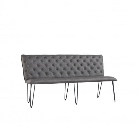 Large Grey Dining Bench With Studded Back