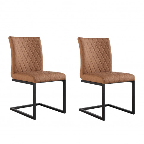 Pair Of Tan Dining Chairs With Diamond Stitching