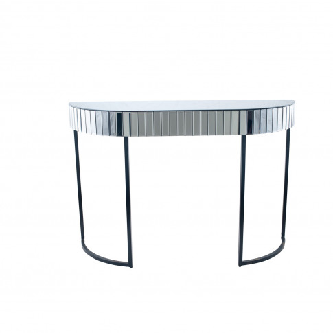 Smoked Grey Console Table With Mirrored Panels