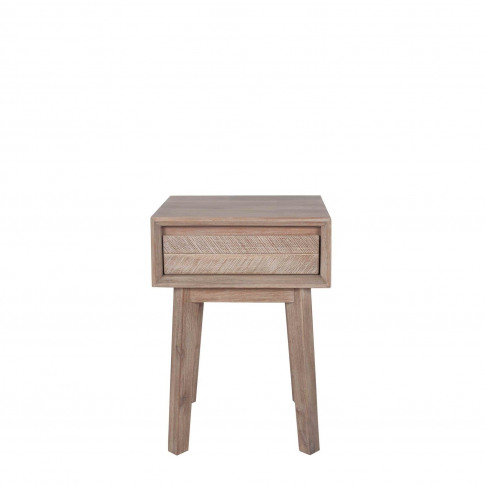 Wood Side Table With 1 Drawer