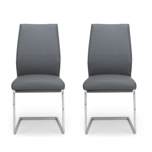 Hilton Cantilever Dining Chairs In Grey Faux Leather