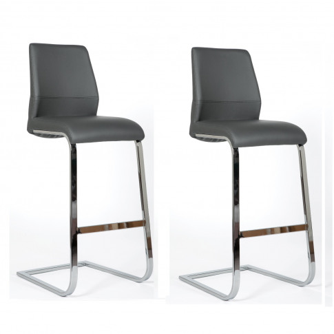 Hilton Bar Stools In Grey Faux Leather