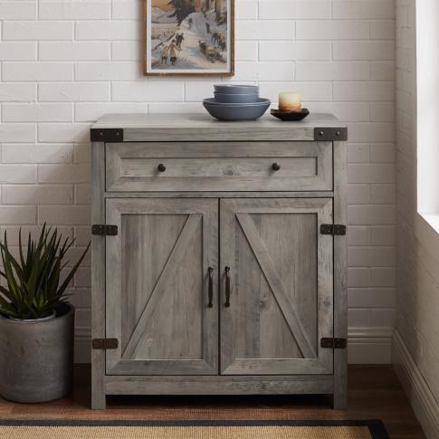 Grey Wooden Sideboard With Double Door & Drawers