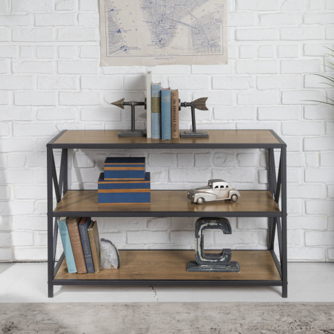 Wood Low Bookcase With Metal Frame - Foster