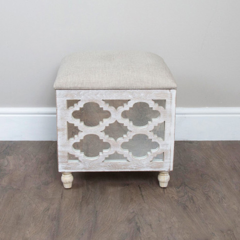 Mirrored Storage Footstool With Padded Seat