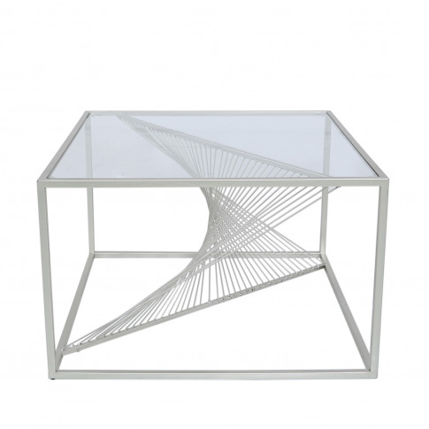 Silver Metal & Clear Glass Coffee Table