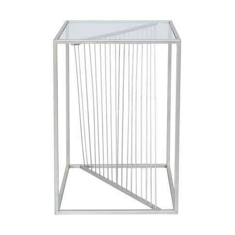 Silver Metal & Clear Glass Side Table