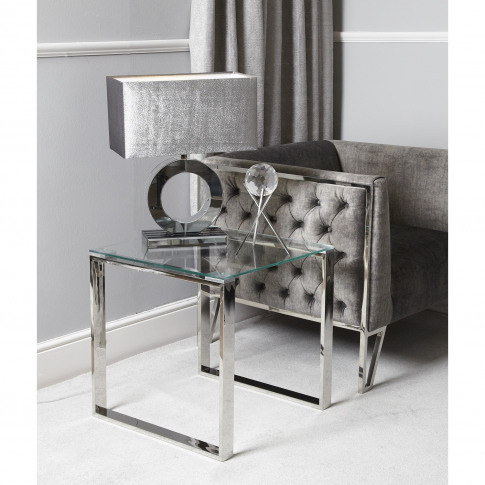 Stainless Steel Side Table With Glass Top