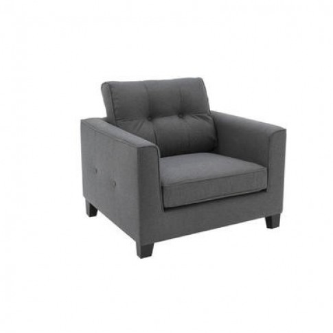 Astrid Grey Fabric Armchair With Button Back