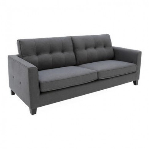 Astrid Grey Fabric 3 Seater Sofa With Button Back