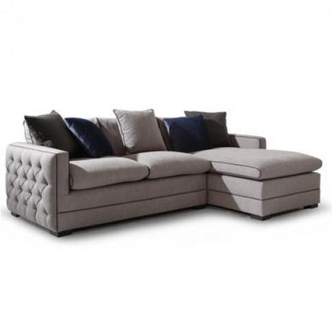 Light Grey Corner Sofa With Deep Button Arms