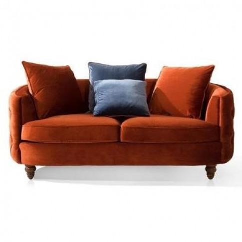 Jools 2 Seater Sofa In Orange Velvet & Cushions